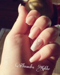 Acrylmodellage Nude mit Kirschblüte Acrylnägel