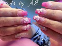 Acrylmodellage Pink 3D Blumen Acrylnägel
