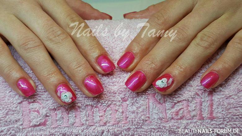 Acrylmodellage Pink mit 3D Blume