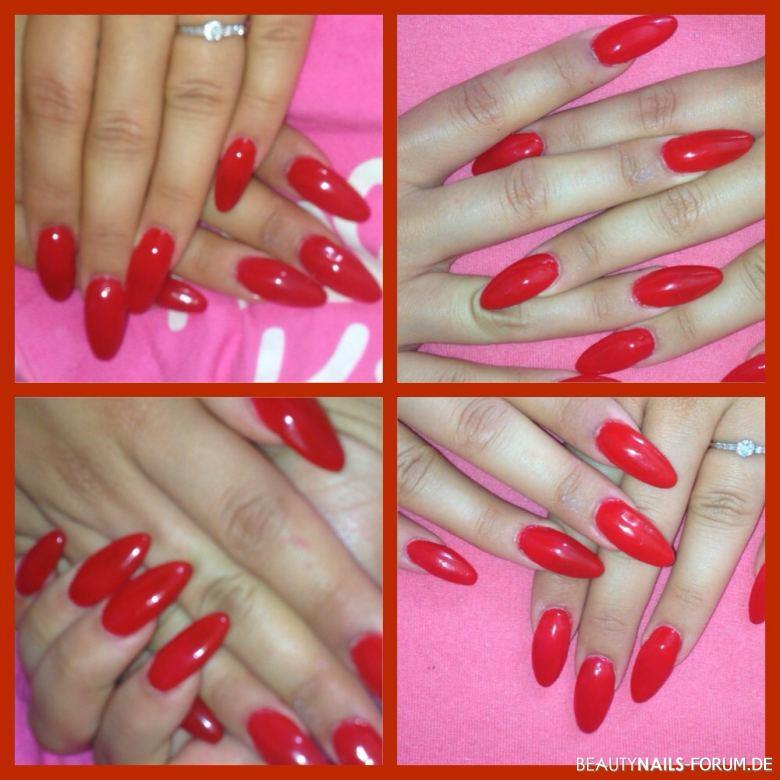 Almond / mandel rot fullcover schlicht Acrylnägel