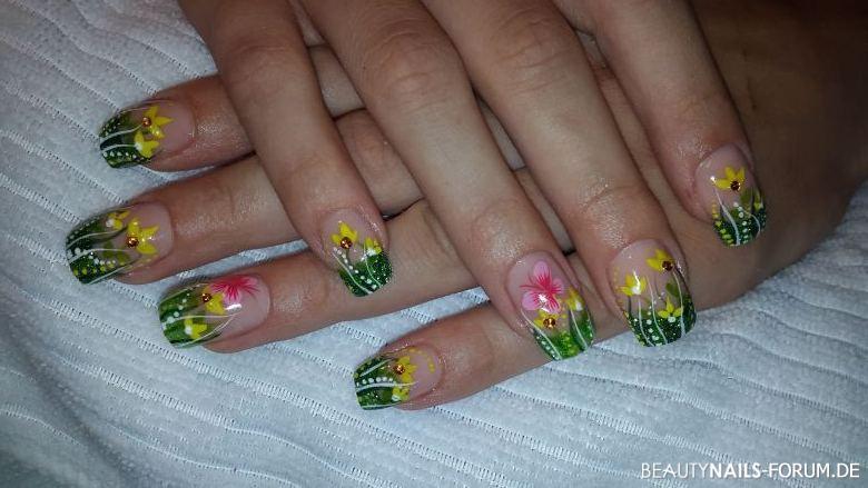 bunte Blumenwiese Acrylnägel