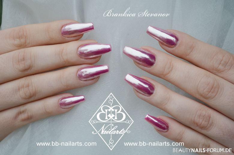 Coole Rosa Chrome Ballerinas Acrylnägel