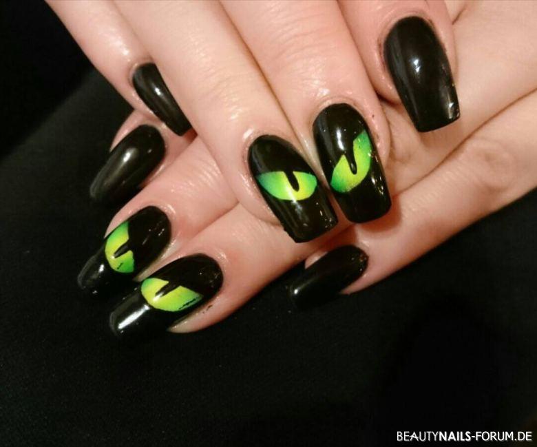 Katzenaugen grün-schwarz Acrylnägel