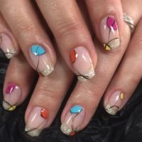 Popart Nails bunt - Glitzer French Acrylnägel