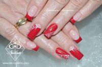 Schöne Nailart - Rotes Fullcover & French mit Schnörkel Acrylnägel