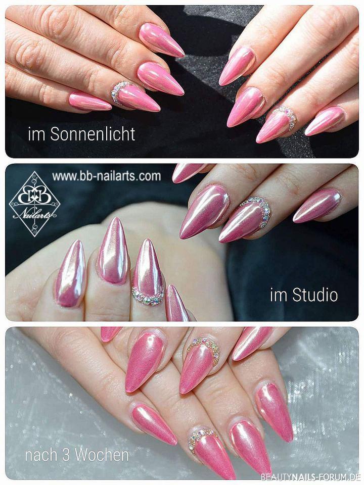 Tolles Chrome Design in Pink mit Strasssteinchen Acrylnägel
