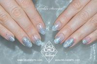 Verlauf & Fullcover Silber Glitzer  - Hingucker Nails Acrylnägel