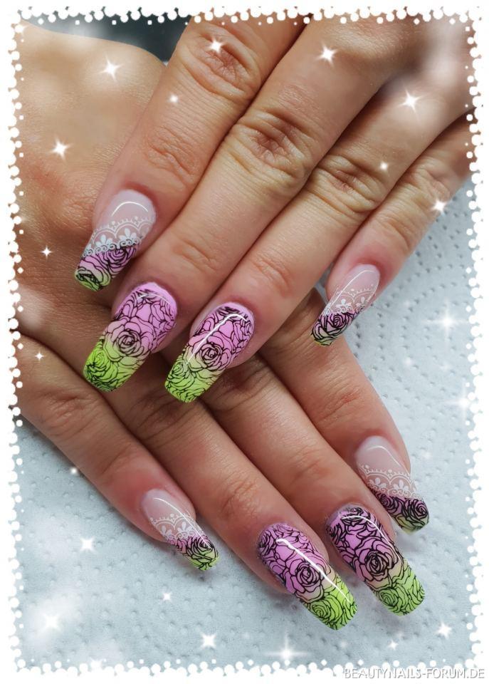 Farbverlauf in pink / gelb mit Stamping (Frühlingsfarben)