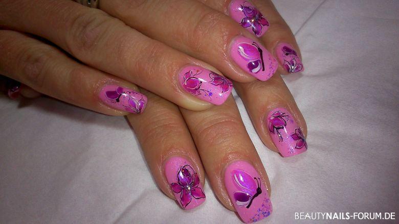 Fullcover rosé / lila mit Blumen / Schmetterling Frühling- & Sommer