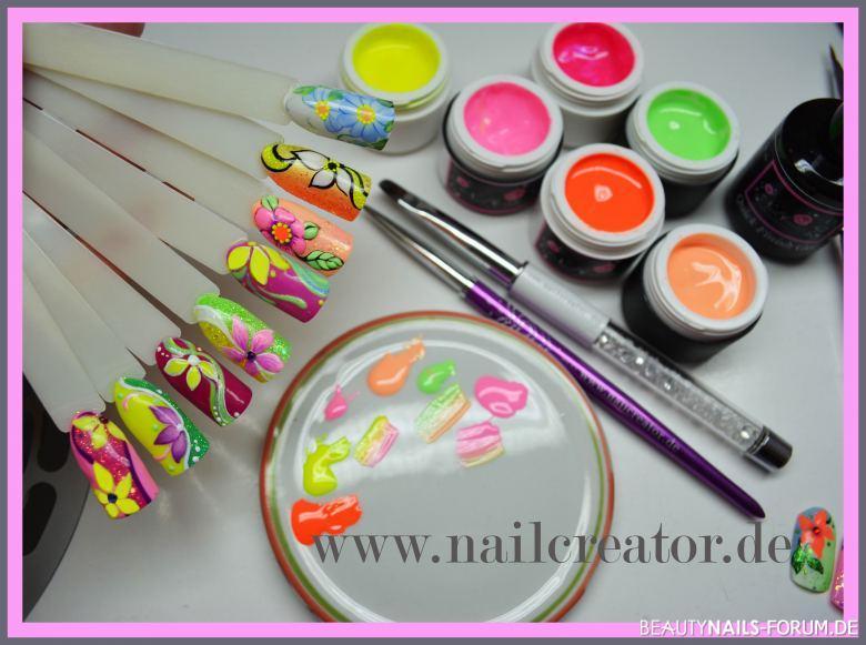 Neon-Blumenmotive bunt - Malerei