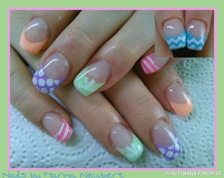 Neon pastell in lila pink hellgr n orange sommer for Bilder fa r nageldesign