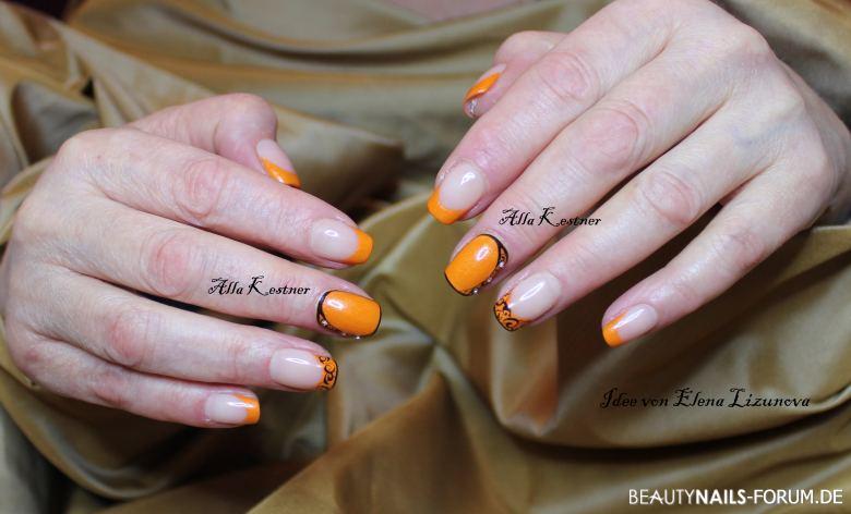 Orange mit schnörkeln und steine