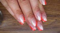Perlweiss-Glimmer und Neon Orange, schräges French Frühling- & Sommer