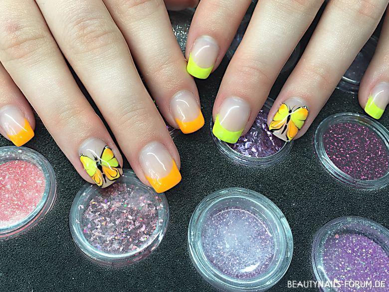 Sommernägel neon gelb und orange