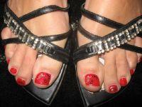 Roter Nagellack Füße Gelnägel Füsse