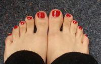 Roter Nagellack Fußnägel Füsse