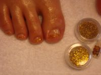 UV-French in gold-glitzer Füsse