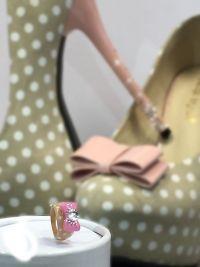 Gelring mit Strass - rosa / beige Gegenstände