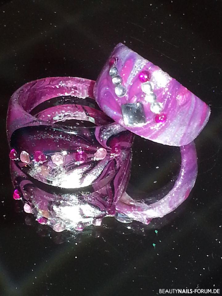 Water Marble Ringe - rosa, lila und schwarz Gegenstände