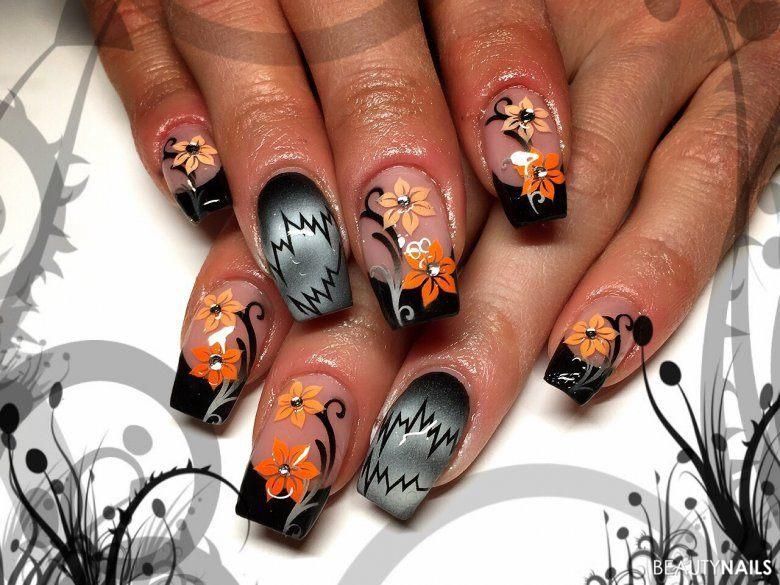 Airbrush Nails Blumen Meer