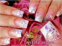 BIG Schmetterlinge weiß und lila Gelnägel