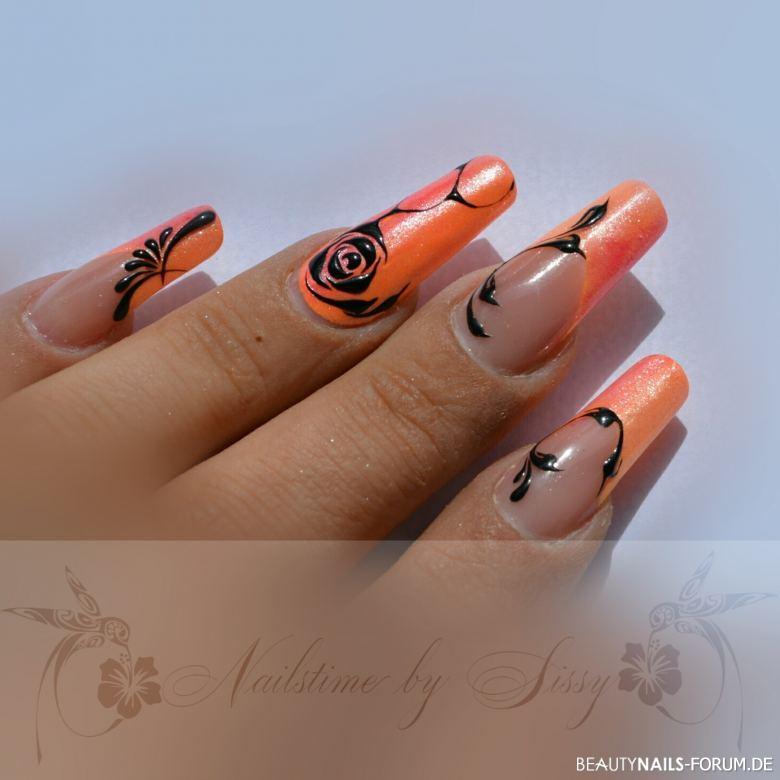 coral orange mit pigmenten und gelmalerei geln gel. Black Bedroom Furniture Sets. Home Design Ideas