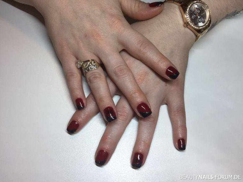 Schwarz rote gelnägel