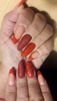French/Fullcover Glitternails in knalligem Rot-Orange Gelnägel