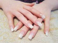 French Nailart mit weiß Glitter Gelnägel