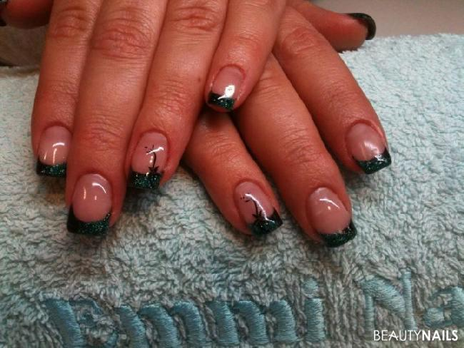 french schwarz mit gr nem hologlitter und stamping 001 geln gel. Black Bedroom Furniture Sets. Home Design Ideas