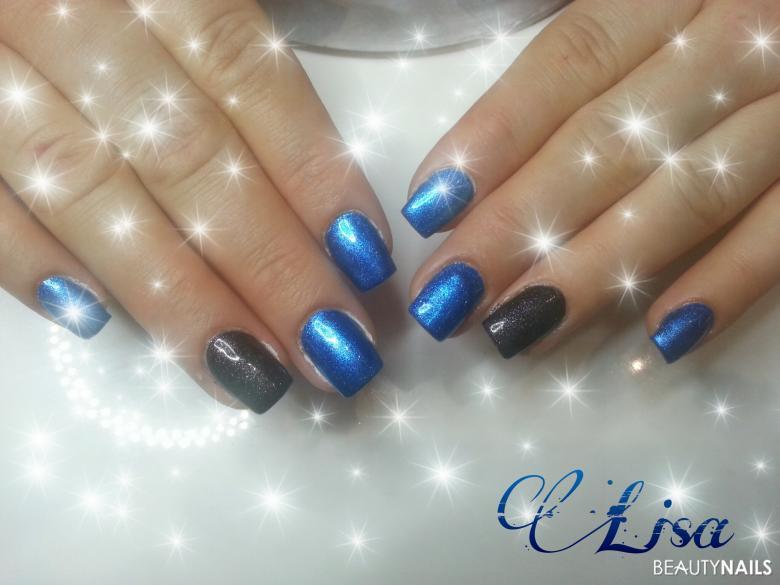 Fullcover Nails Blau-Schwarz
