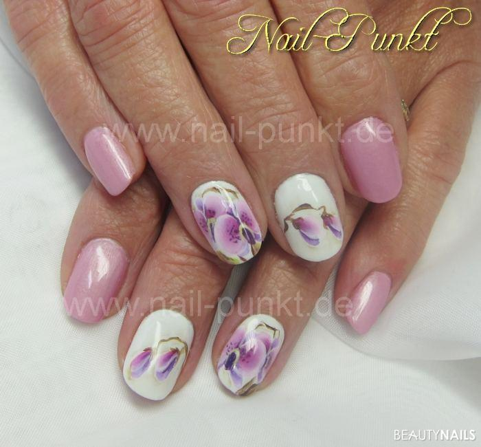 fullcover rosa wei mit orchideen pinselmalerei geln gel. Black Bedroom Furniture Sets. Home Design Ideas
