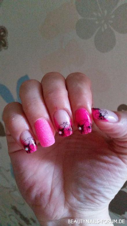 gel nägel Neon Pink und shugar effekt Gelnägel