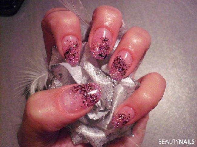 Gel Pipeversuch Glitterverlauf Rosa Gelnägel