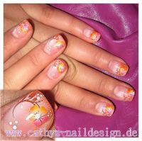 Glitter Orange Gelnägel