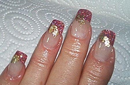 Glitterrosé und gold mit Schmetterlingsticker