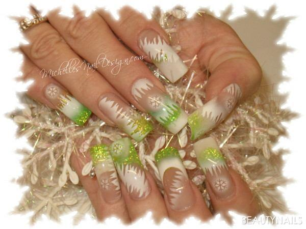 Ice Gelnägel - Airbrush Winter Nailart