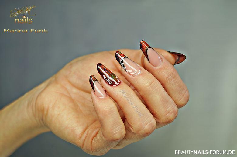 Mandelform schönes French Design in rot-schwarz Gelnägel