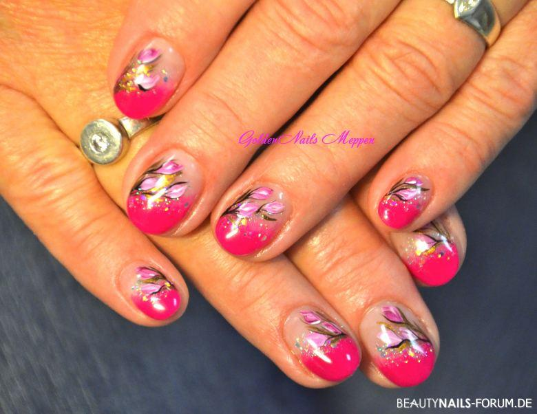 nailart sommerblumen mit pink geln gel. Black Bedroom Furniture Sets. Home Design Ideas