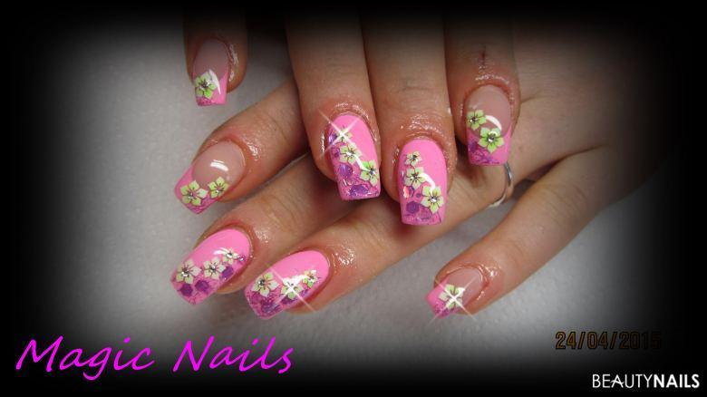 Pink mit Airbrush Gelnägel