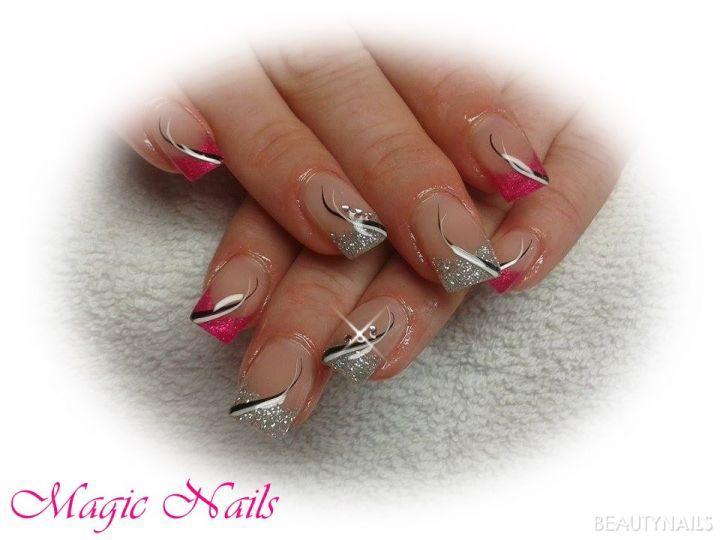 pink-silver glitter Gelnägel