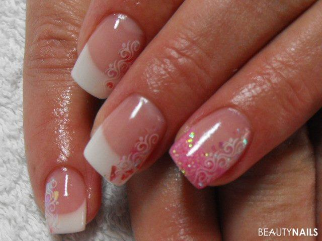 rosa Glitzer Nägel Gelnägel