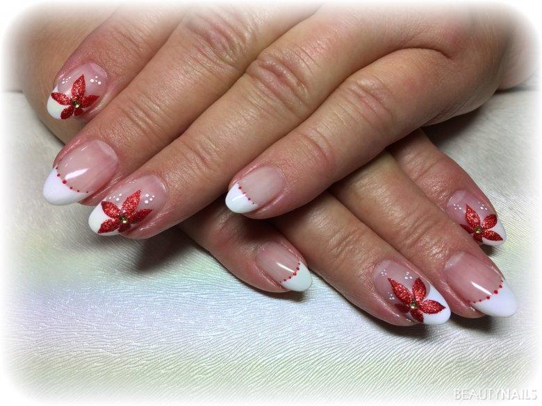 Weiß mit roter Glitzer Blume