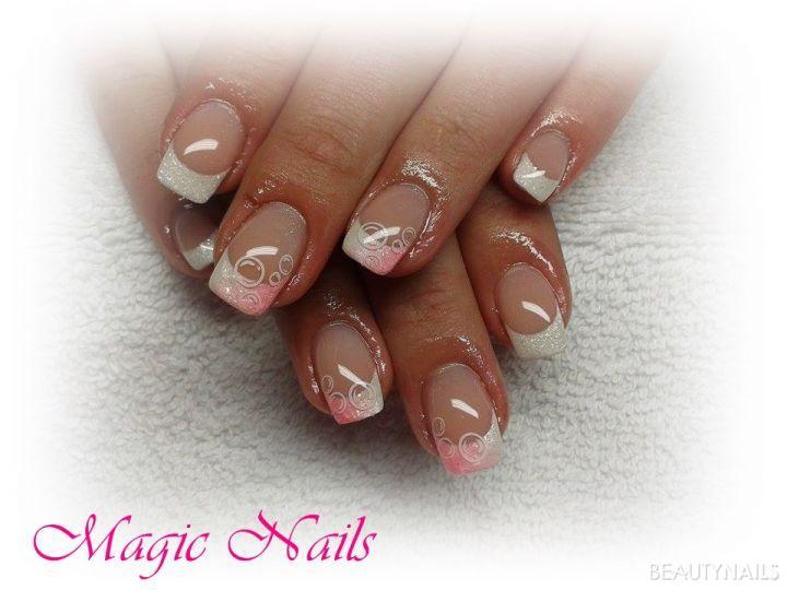 weiss-rosa pigmente Gelnägel