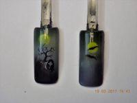 Airbrushmotiv zu Halloween, Fledermäuse, Grabstein Halloween Nägel