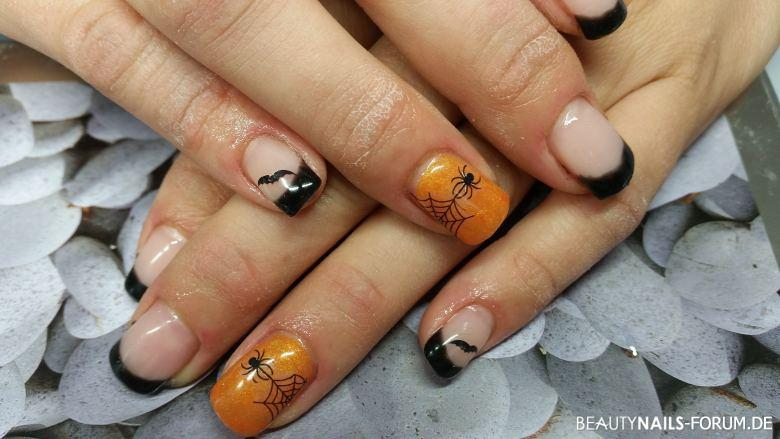 Halloween Nageldesign mit kürbis Orange