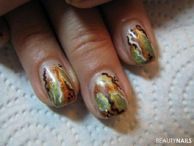 Herbsttöne, kupfer und grün metallic