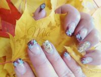 Square French-bordeaux & gold-rainbow Glitter-Stamping Herbst-Nägel