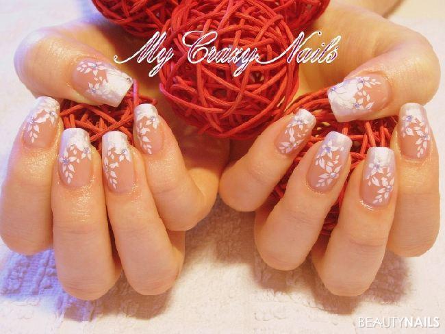 Hochzeitsdesign Hochzeitsnägel - Aufbau CTN... Make Up Eubecos... French Jolifin Metallic White... Nailart