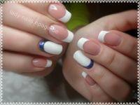 Weiß mit Blau Hochzeitsnägel